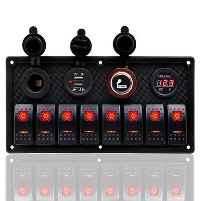 8 Gang LED Rocker Switch Panel Circuit Breakers Charger 12V USB For Boat Marine