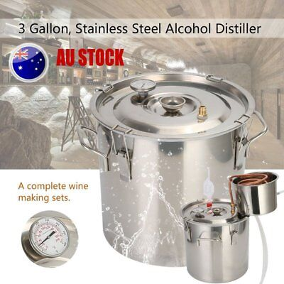 AU 3 Gallon 12L Alcohol Moonshine Water Copper Home Stainless Alcohol Distiller