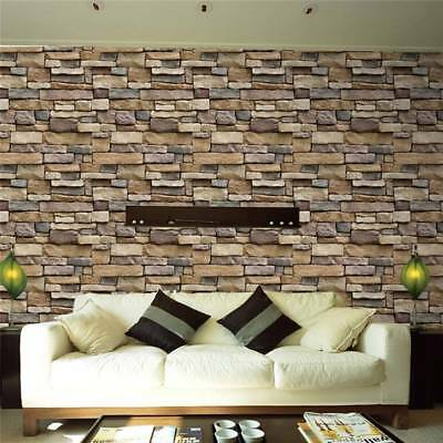 45x100cm Self Adhesive Wall paper PVC Waterproof Stone Brick Wall Stickers E