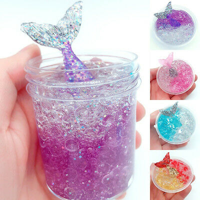 Crystal Mermaid Mud Fluffy Slime Putty Scented Stress Relief Kids Party Toy Gift