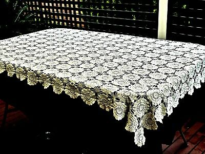 Gorgeous 100 % White Cotton Hand Crochet Tablecloth Unused