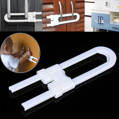 Baby Plastic Safety U Shape Lock Security For Cabinet Cupboard Door Drawer FT