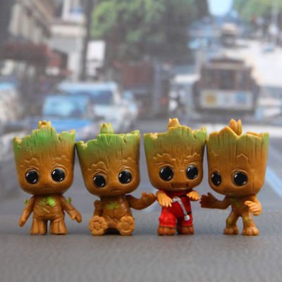 4pcs Guardian of the Galaxy Baby Groot Figures Set Display Toy Gift Cake Topper