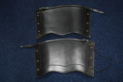 Reproduction Victorian Black leather British Army gaiters (Zulu war) Large Size