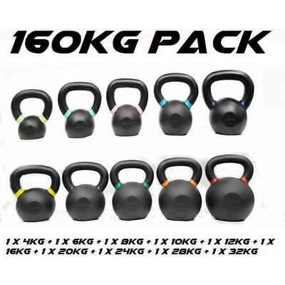 Morgan Cast Iron Kettlebell Pack 160Kg Full Set Commercial Grade CF-24