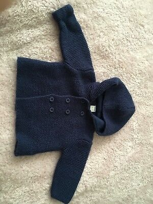 3-6 Months Boys Next Knitted Hooded Navy Cardigan