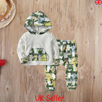 UK Toddler Baby Kids Boys Girls Clothes Hooded Top Pants Outfits Sets Tracksuit