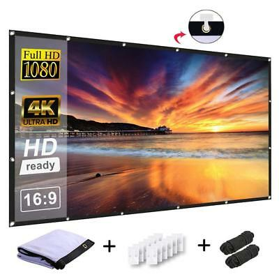 120 inch Projection Screen, 16:9 High Contrast Collapsible HD 4K Portable