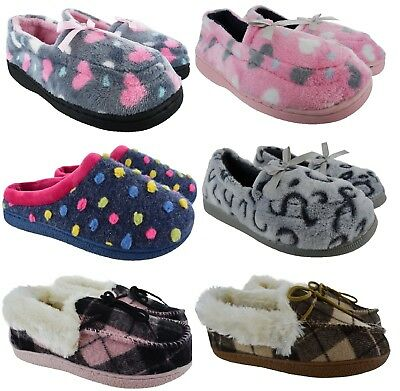 Ladies Womens Sofy Comfy Warm Luxury Bow Moccasin Slip On Slippers Shoes Sz 3-8