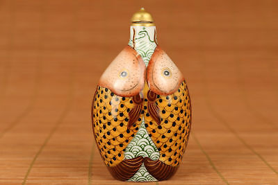 Chinese Dynasty Old Porcelain Handmade Painting Double Fish Statue Snuff Bottle
