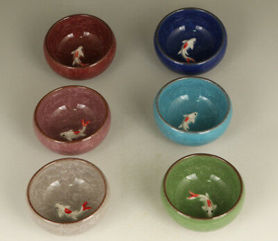 6 X Kungfu Tea Cup Ice Crack Porcelain Fish Tea Set Bowl Home Decoration gift