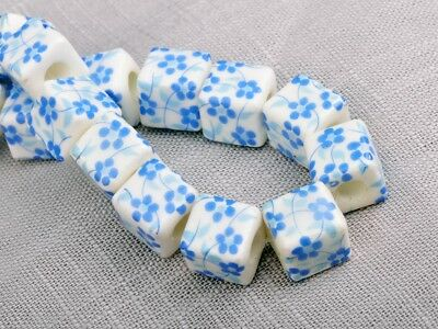 NEW 10pcs 10mm Cube Square Ceramic Spacer Loose Beads Flowers Pattern #16