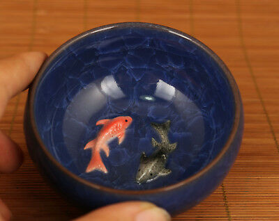 blue binglie porcelain hand carving fish bowl Kungfu tea cup noble gift