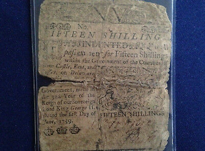 1759 Delaware 15 Shillings Horse and Sage Colonial Note Benjamin Franklin E5039