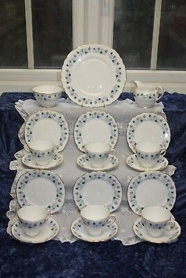 Gorgeous Vintage Royal Vale 21 Piece China Tea Set Teal & pink Patt No 7775