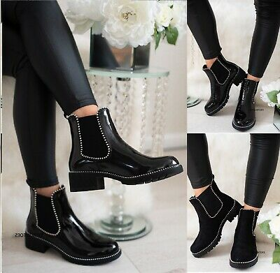 Ladies Women's Ankle Chunky Sole Chelsea Low Block Heel Flat Studded Shoes Boots