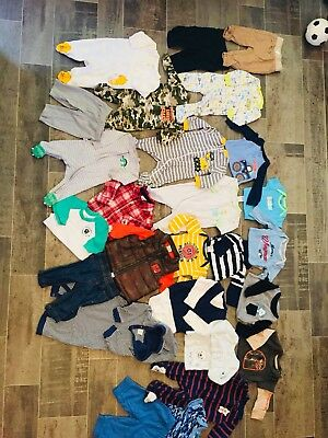 Baby Boy Clothes Lot Of 28 Items 0-3 Month Fall Winter