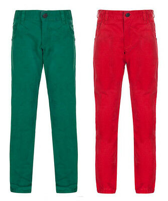 Boys Trouser Chino Cotton Baby Toddler Kids Red & Green 18-24 2-3 3-4
