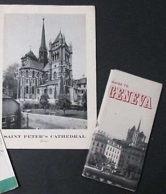 GENEVA Guide Book St Peter's Cathedral Brochure Mid Century Travel Souvenirs
