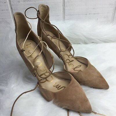 56b0b3373 Sam Edelman Shoes Helaine 9M Pump Heels Lace Up Gray Suede Pointed Toe As Is