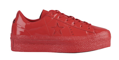 NEW CONVERSE ONE STAR PLATFORM OX WOMENS SHOES SNEAKER RED PATENTED size 10  US 65260b042
