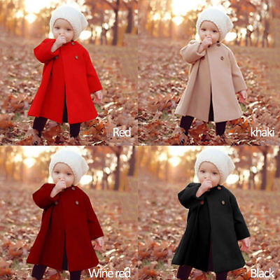 Autumn Girls Kids Baby  Warm Outwear Button Jacket Clothes Cloak Coat 0-5 years