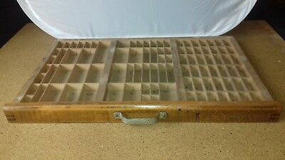 Unusual Antique Vintage UK Wood Printers Drawer Tray Rack Cabinet Letterpress 95