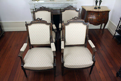 Four French Antique Louis XVI Style Finely Carved Wood Armchairs