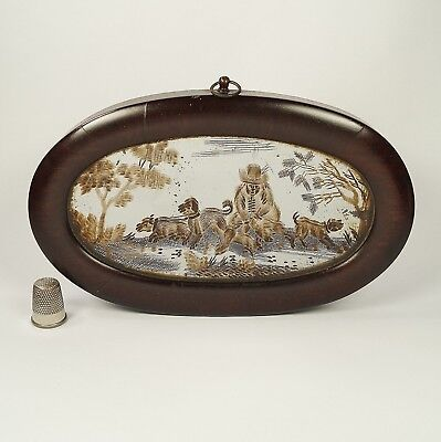 Antique 18th Century Miniature Etched Glass Mirror Dogs Scene Circa 1780