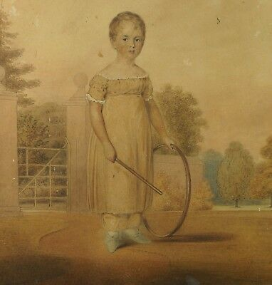 19th Century Georgian Watercolour Portrait Child By William Watkin Waite 1823