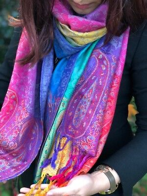 Ladies Long Bright Rainbow Multi Colour Paisley Scarf Pashmina Scarves Shawl