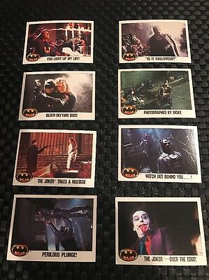 Lot of 8 Batman Movie Trading Cards 1989 Topps