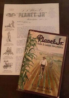 1913 PLANET JR Farm & Garden Implements Catalog + ORIGINAL LETTER
