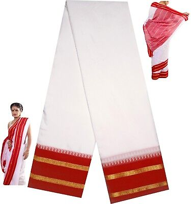 Hand Weaved Temple Border Art Silk Sari Saree Puja Meditation White & Red Border