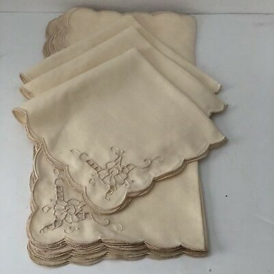 """Napkins Scalloped Edge Embroidery Beige 16 x 16 """" Lot of 12"""