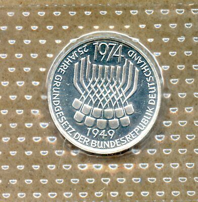 Germany ~ 1974 F ~ 5 Mark ~ Constitutional Law ~ Silver ~ Proof