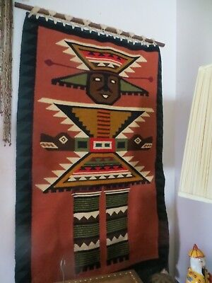 Antique Peruvian Hand Woven Wool Rug Wall Hanging;Warrior Figure