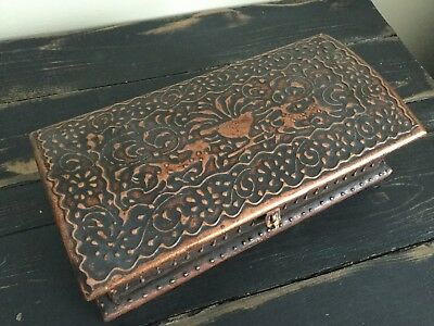 Wooden Storage Box Painted (Copper / Bronze Color) India Vanity Jewelry Box