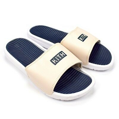 faa4354680cd7 NWT Kith NYC Men s White Navy Box Logo Slides Sandals Flip Flops 12 DS  AUTHENTIC