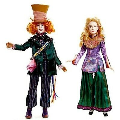 Disney Alice In Wonderland &  Mad Hatter Doll Set Through The Looking Glass New