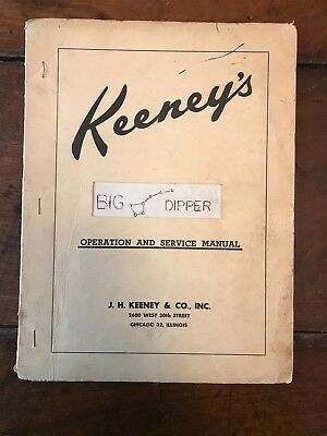 "Original Late 1950s Keeney's ""Big Dipper"" Operation and Service Manual"