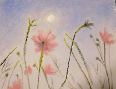 original art landscape of flowers signed drawing painting sketch pastel paper