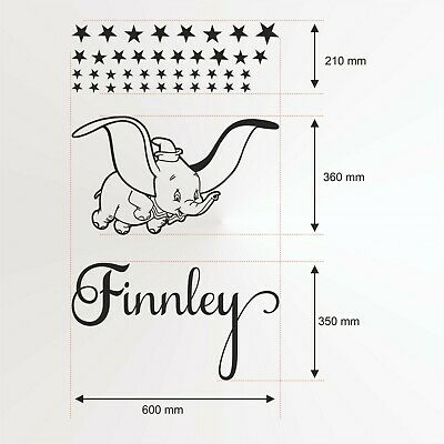 Name IPersonalised  Decor Dumbo Stars Kids Baby Girls  Bedroom Wall Stickers