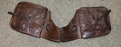 Antique 19th Century J.T. Irick Leather Hand Tooled Western Cowboy Saddle Bags