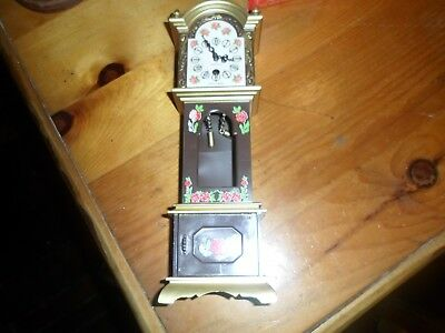 Mini made in West Germany Trenkle Grandfather Gold w/flowers antique clock