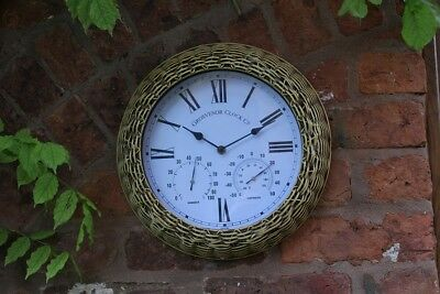 Outdoor indoor Garden Wall Clock Wicker Surround, 15 inch Aged Clock Face