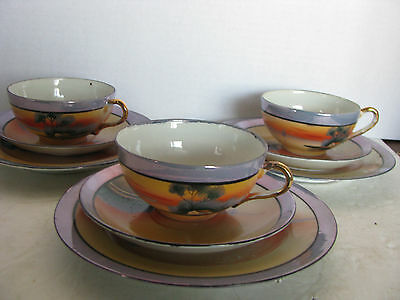 Lot 3 Sets HAND PAINTED MADE IN JAPAN LUSTER CUP & SAUCERS With Small PLATE 9 Pc
