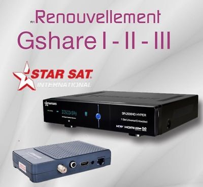Recharge Gshare 3 & FunCam Server 12 Mois Starsat Geant Pinacle bware