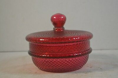 Antique Cranberry Art Glass Covered Box
