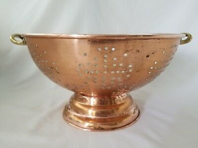 "Vintage Large Copper & Brass Colander  11 1/2"" B & M Douro Korea"